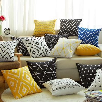 北欧简约黑白黄色条纹几何格子抱枕套简约现代棉麻靠垫沙发大靠枕哪款好