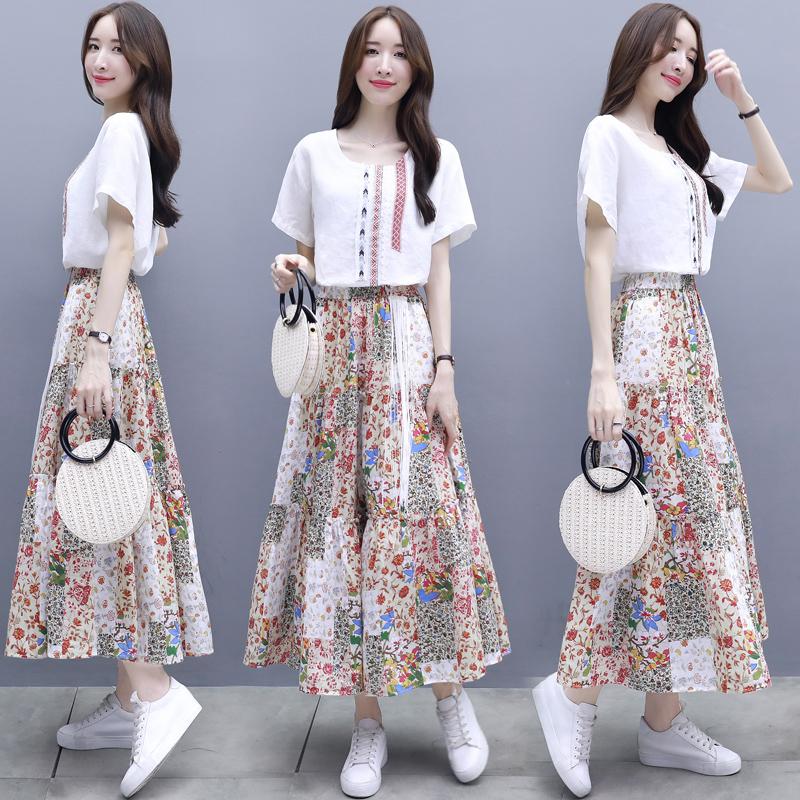 2018新款女装夏装两件套裙长款连衣裙女短袖拼接碎花长裙套装大码