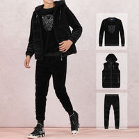 18 youth gold velvet casual sports suit men's winter plus velvet thickening clothes men's autumn and winter three-piece