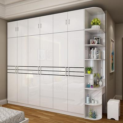 现代简约衣柜五六门烤漆整体板式大衣柜组装木质衣橱卧室家具组合领取优惠券