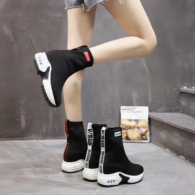 短靴女春秋2018新款马丁靴女内增高厚底短筒袜靴潮百搭弹力袜子鞋