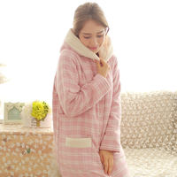 Rich autumn and winter long hooded moon suit plus velvet thick warm jacket cotton robes nightgown pregnant women pajamas feeding clothes