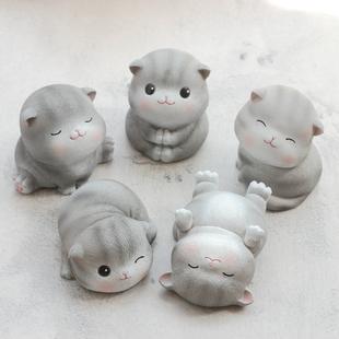 可爱猫咪树脂摆件创意车内饰品日式客厅装饰品桌面摆设品小礼物女