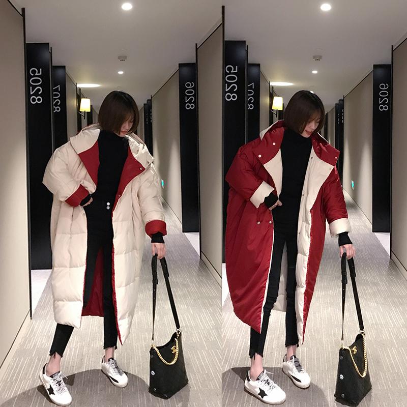 双面穿中长款加厚宽松羽绒服女2018冬季新款韩版连帽过膝棉袄外套图片