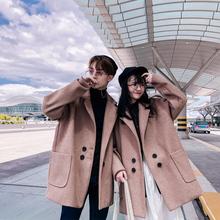 秋冬季2018新款韩版ins毛呢大衣男宽松中长款风衣呢子情侣装外套