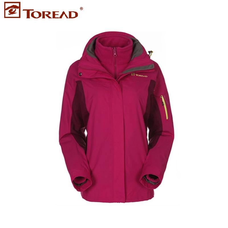 探路者女士冲锋衣冬季户外加绒防风三合一TAWC92291