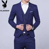 Playboy suit suit men's three-piece suit dress groom wedding dress Korean version of the self-cultivation suit autumn