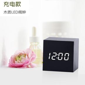 学生创意LED充电蓄电子闹钟夜光静音卧室床头小闹铃多功能个性钟