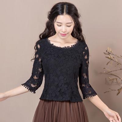 烟花烫ZPL2018秋季新品女装气质修身甜美百搭蕾丝衫上衣 慕蝉