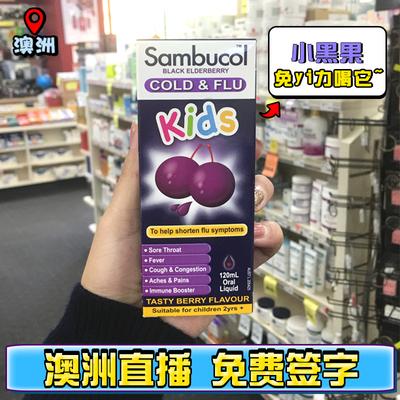 澳洲进口Sambucol黑接骨木小黑果儿童补锌维生素c糖浆120ml