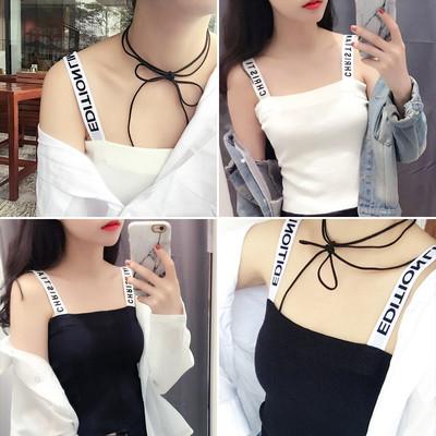 2018夏季新款弹力字母小吊带背心女修身显瘦内搭外穿打底衫