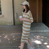 Ice silk striped dress female summer tide mother postpartum breathable long paragraph feeding clothes was thin out short sleeve breastfeeding clothes