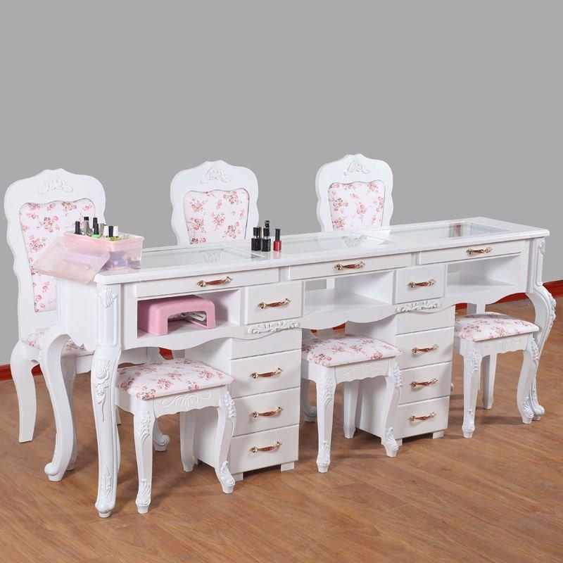 台美容院店铺四方个性现货美甲台椅子凳子靠背组合展示柜一体床边