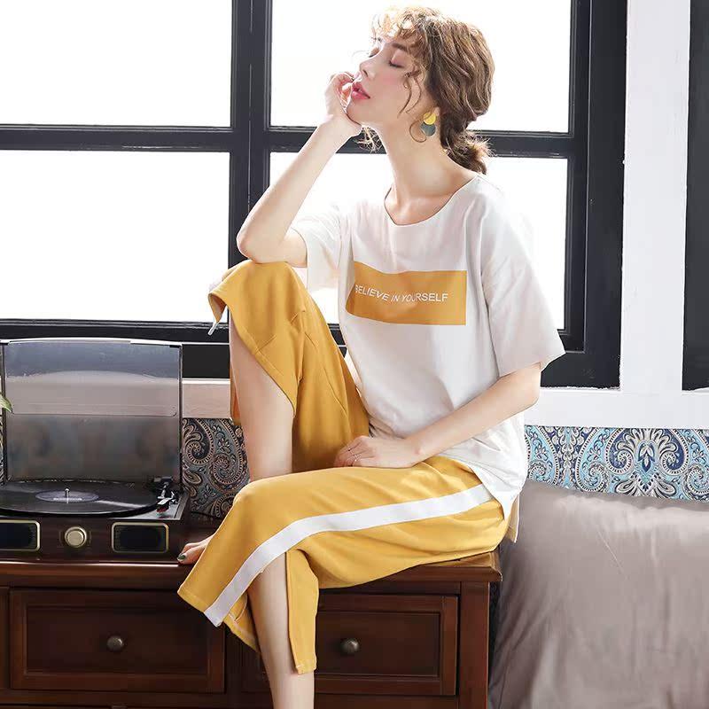 短袖睡衣女夏季薄款纯棉七分裤家居服可出门休闲运动韩版学生套装