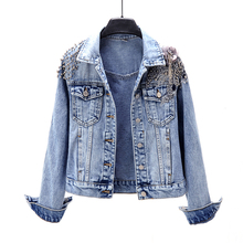 Spring and Autumn 2019 New Korean Heavy Industry Nail Pearl Flower Long Sleeve Denim Jacket Short Jacket Tide