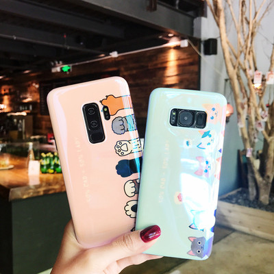 可爱猫咪三星s8+手机壳蓝光s9plus硅胶保护套s7edge全包防摔note8