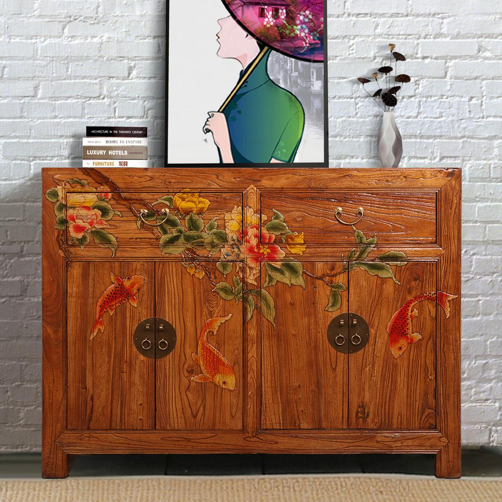 新中式老榆木免漆手绘玄关柜复古做旧实木鞋柜客厅储物隔断彩绘柜