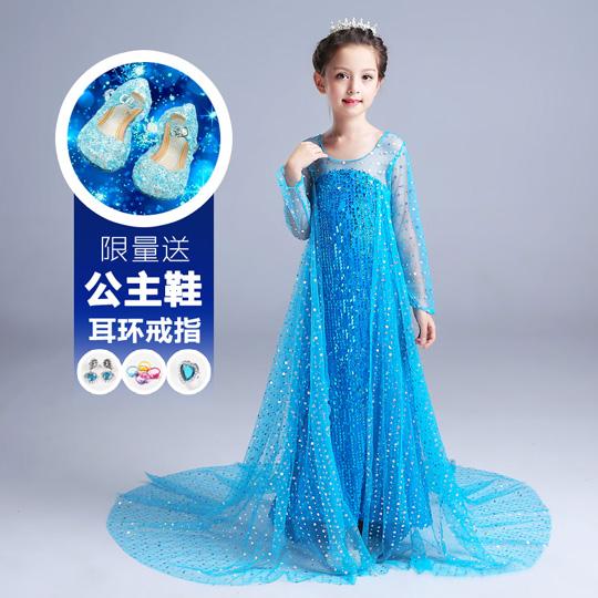 冰雪奇缘公主裙儿童服装女童秋冬礼服连衣裙正版爱莎艾莎爱沙裙子