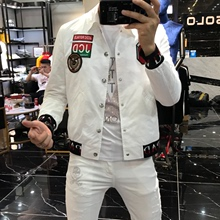 19 New style autumn and winter fashion personality self-cultivation label European Chaozhou men's leisure baseball clothes youth Chaozhou coat