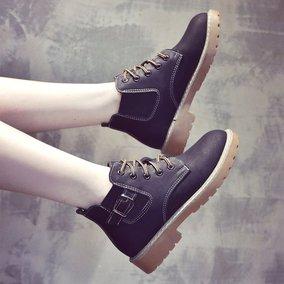 马丁靴女秋季2018新款百搭韩版短筒单靴高帮冬加绒学生切尔西短靴