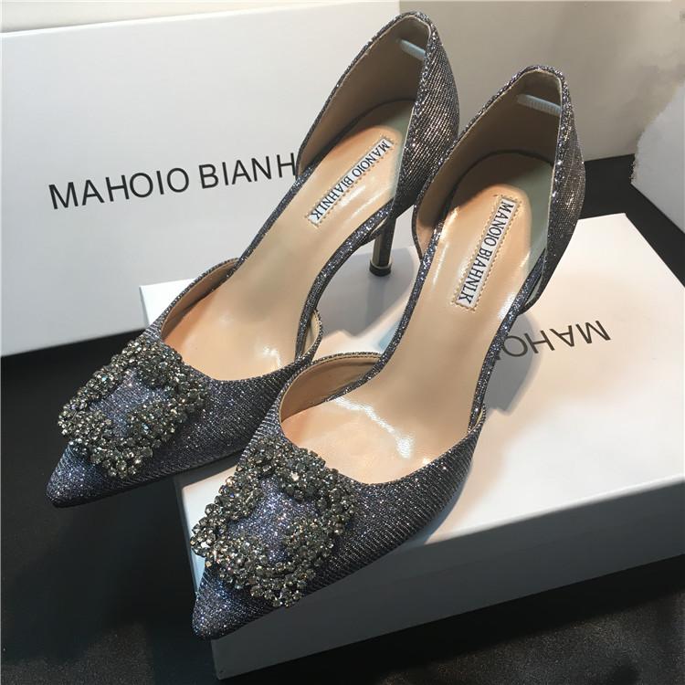 新款mb高跟鞋细跟水钻方扣中空单鞋亮片尖头浅口女鞋中跟新娘婚鞋