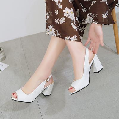 单鞋女夏时尚外穿2018新款粗跟中跟大东鱼嘴凉鞋百搭中年妈妈女鞋