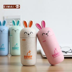 壹麦 小麦秸秆兔子水杯创意水杯防烫学生杯子可爱简约便携随手杯
