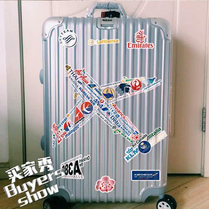 52张航空公司LOGO行李箱贴纸防水飞机场旅行拉杆箱无人机贴画