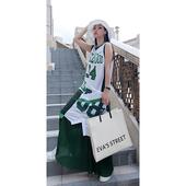 连衣裙 休闲运动宽松百搭长款 篮球背心女bf风假两件时尚 欧洲站新款