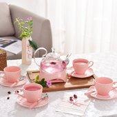 浮雕陶瓷玻璃花茶具套装主妇下午茶花果茶红茶杯耐热茶壶蜡烛保温