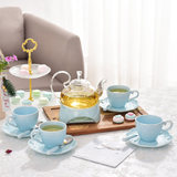 Embossed ceramic glass flower tea set housewives afternoon tea fruit tea cup heat-resistant teapot candles warm