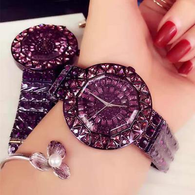 手表女时尚潮流欧美高档奢华大气大表盘紫色水钻水晶装饰大牌女表