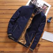纯棉衣服保暖毛绒男装 冬季中年男士 外套加绒加厚立领夹克爸爸冬装图片