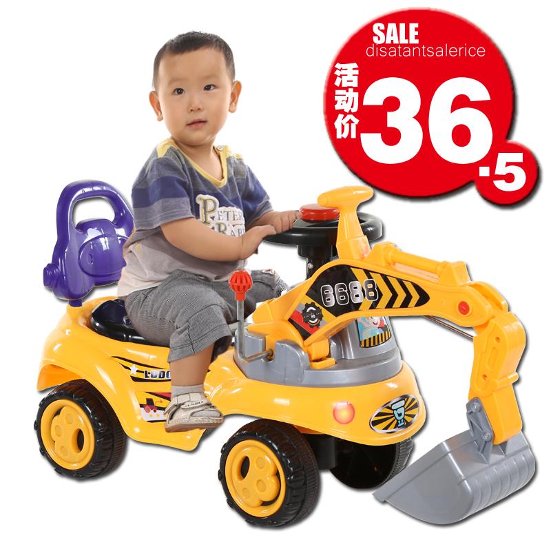 儿童玩具挖掘机可坐可骑宝宝大号挖机音乐工程学步车男孩挖土机