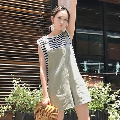 2017夏季新款女装  背带牛仔连体裤短裙裤条纹T恤衫打底两件套装