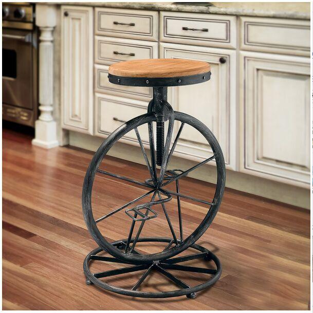 工业风铁艺创意自行车吧台椅 酒吧凳椅子升降实木面复古高脚吧凳