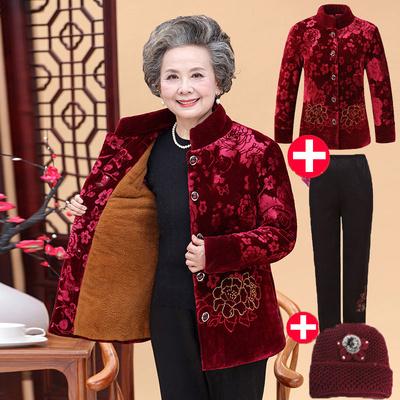 中老年人女装棉衣冬装60-70-80岁奶奶装加绒加厚大码金丝绒棉袄女