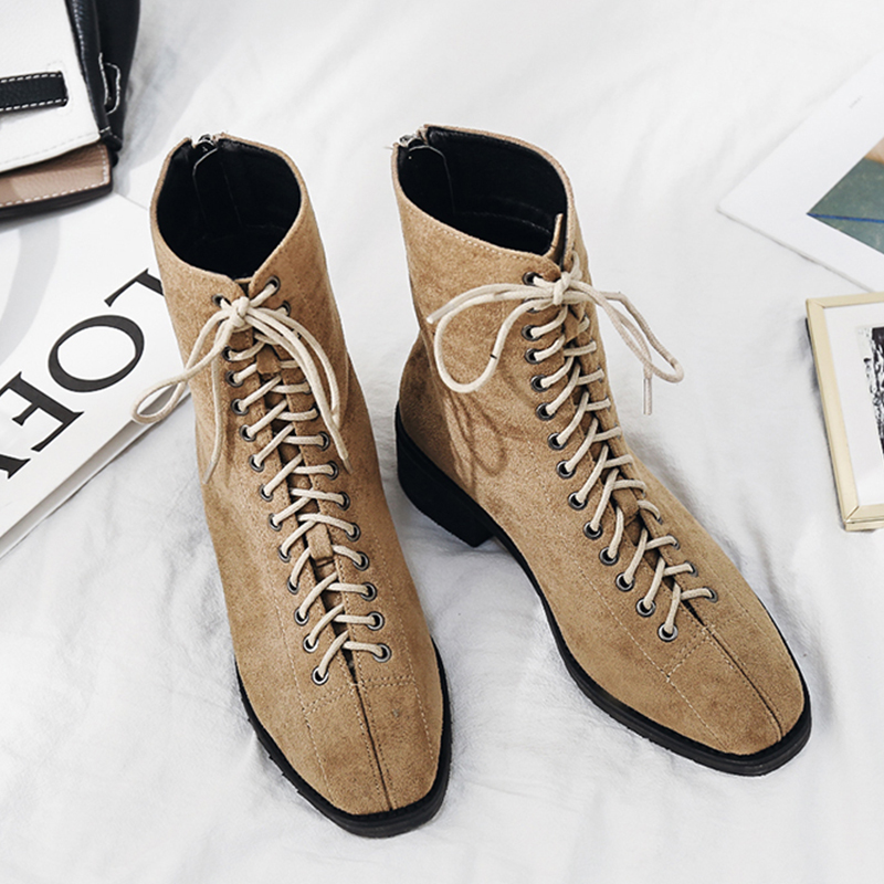 欧美2018新款马丁靴系带短靴女粗跟加绒低跟朋克柳钉骑士靴女靴潮