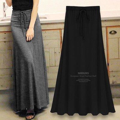 莫代尔半身裙春夏女大摆高腰长款A字半身长裙适合胯大腿粗的裙子