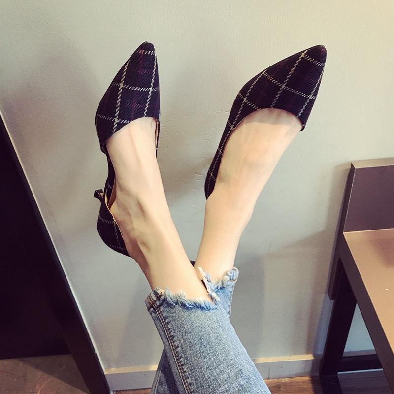 包邮2018夏季新款格纹细跟凉鞋女鞋侧空舒适百搭尖头低跟大码单鞋