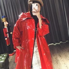 真皮皮衣女红色中长款连帽风衣2018秋季绵羊皮漆皮亮面外套P4572
