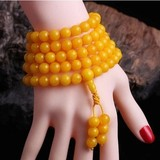 Polish old beeswax hand string amber men and women 108 beeswax necklace chicken oil yellow float brine 6MM