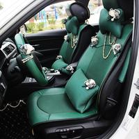 雅越珍珠复古汽车坐垫 女神时尚缝花可爱座椅套 镶钻四季通用座垫