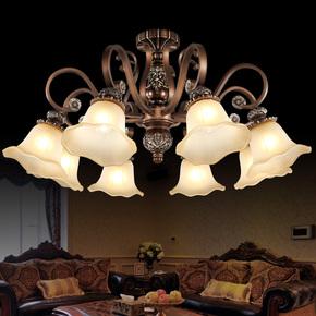欧式吊灯复古铁艺卧室书房餐厅吸顶客厅灯具美式树脂简欧灯饰