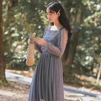 2019新款女装春秋法式复古裙山本少女初恋收腰学生长款网纱连衣裙