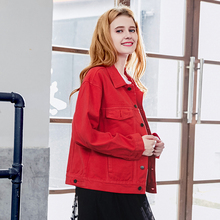 Spring 2019 Loose New Big Red Denim Coat Women's BF Wind Short Jacket Top Tide