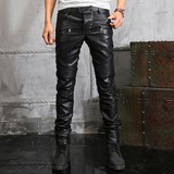 Autumn and winter new European and American punk riding wind blower car tide men's leather pants Slim matte washed Harley leather pants tide