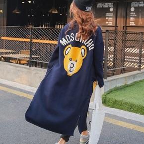 2017秋季韩版小熊图案中长款针织衫女开衫大码女装显瘦毛衣外套潮