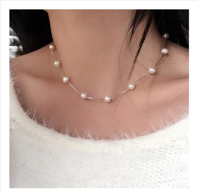 18K金 天然淡水珍珠满天星锁骨套链925纯银项链路路通 五星连珠