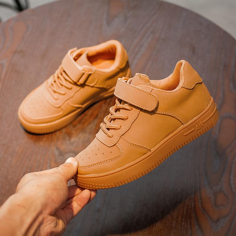 2018儿童新款高帮真皮板鞋男女童魔术贴超软透气板鞋男女童篮球鞋